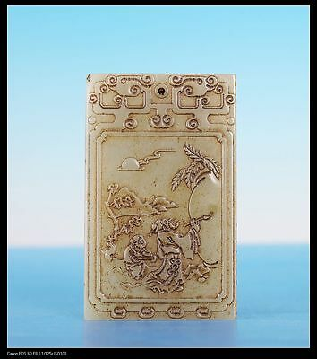 Hand Carving China Natural Figures Calligraphy Jade Pendant Marked ZiGang JA25