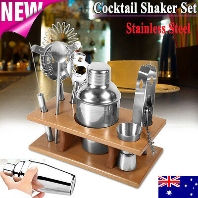 Stainless Cocktail Shaker Mixer Drink Bartender Martini Tools Bar Set Kit w/Rack