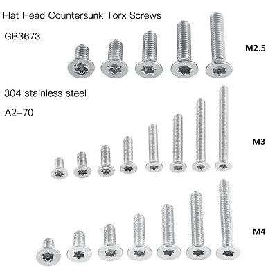 M 2.5 M3 M4 304 A2 Stainless Steel Torx Screws Flat Head Countersunk Hex Sockets