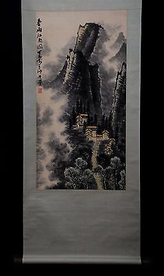Exquisite Long Old China Handmade Landscape Scroll Painting Collectible PP951