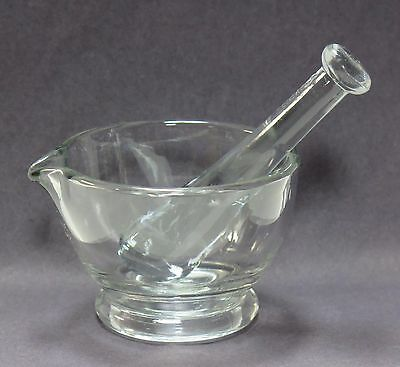 "VINTAGE MEDICAL PHARMACY APOTHECARY MEDICINE MORTAR PESTLE SET CLEAR GLASS 4""x3"""
