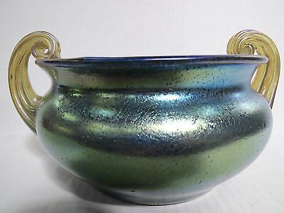 LOETZ  RIBBED HANDLE BOWL-Decor:NORMA  MARKED ON BASE Circa: 1918