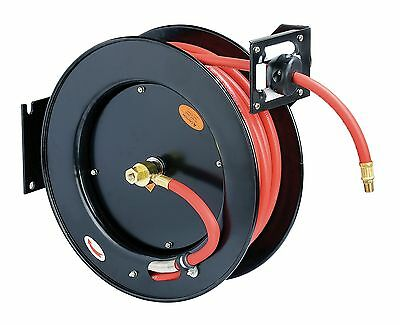 "ReelWorks Steel Retractable Air Compressor Hose Reel 3/8"" x 50' Rubber Hose"