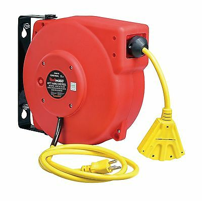 ReelWorks Heavy Duty Extension Cord Reel, 14AWG/3C SJT,Triple Tad Cord