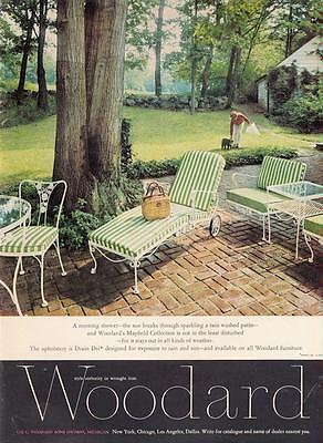 1962 Woodard PRINT AD features Mayfield Collection in Green Striped & White Iron