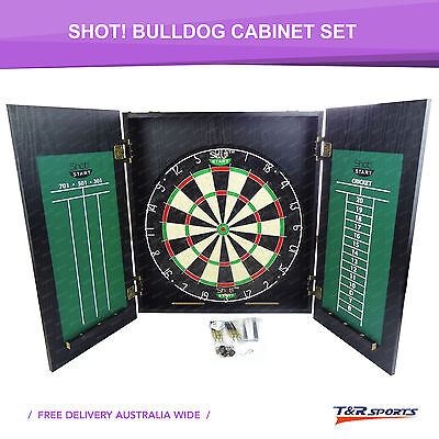 Shot! Bulldog Dartboard Cabinet Set Bristle Dartboard Darts & Holder Scoreboard