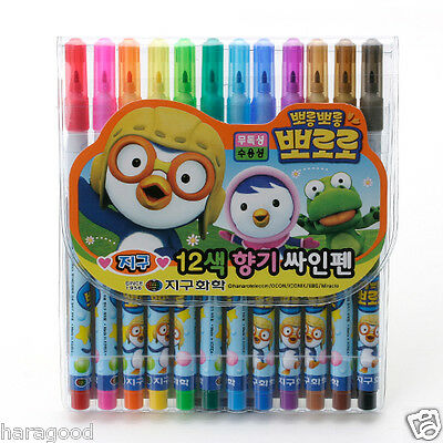 PORORO Character Design 12 Colored Fragrant Sign Pen Scented Pen Soft Writing HR
