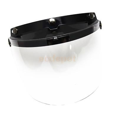 3-Snap Open/Half Face Motorcycle Helmet Flip Visor with Clear Mirror Shield