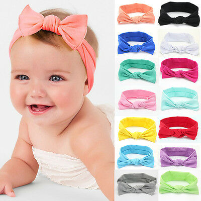 Newborn Baby Toddler Girl Bow Kid Turban Knot Rabbit Headband Hairband Headwear