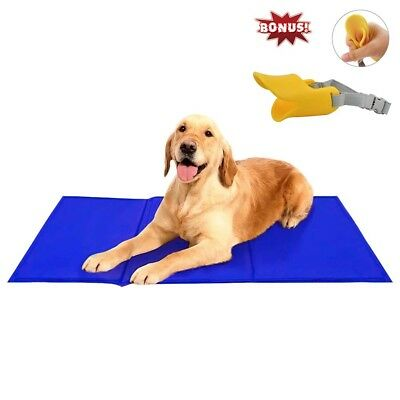 """Free Paws Pet Cooling Pad Gel Mat Cooler For Dog Crate Bed Kennel 20""""x36"""", Blue"""