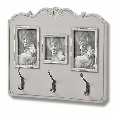 Shabby Chic Grey Wood Photo Picture Frame Bedroom Hall Coat Clothes Wall Hooks