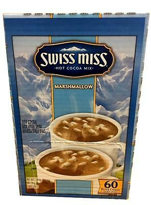 Swiss Miss Hot Cocoa Mix   MARSHMALLOW 60 Sachets USA Made Rich & Creamy
