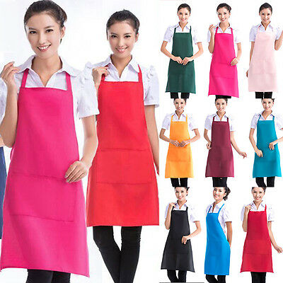 Women Solid Cooking Kitchen Restaurant Apron Bib New Dress with Pocket Aprons DR