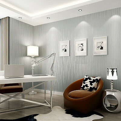 3D Luxury Flocking Embossed Textured Lines Wallpaper Roll Home Improvement Decor