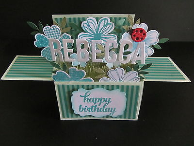 Handmade  3D birthday Card in a box -Teal, PERSONALISED