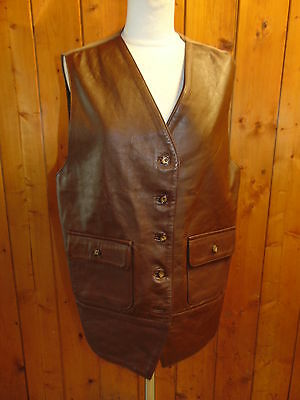 Womans Workers for Freedom vintage brown leather waistcoat gilet size 16