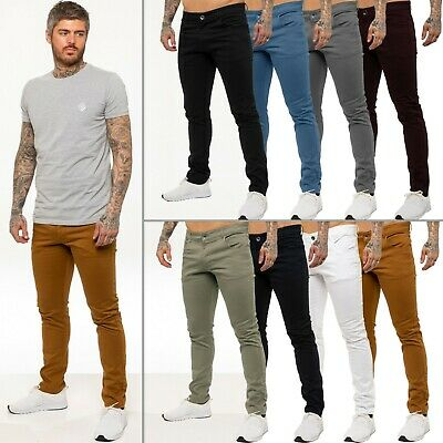 Kruze Designer Mens Stretch Slim Fit Chinos Trousers Jeans All Waist Sizes Holt