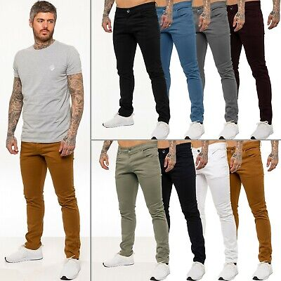 Kruze Jeans Designer Mens Stretch Slim Fit Chinos Trousers All Waist Sizes Holt