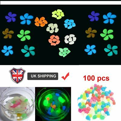 300X Glow in the dark Pebbles Stones Fish Tank Home Garden Aquarium Luminous