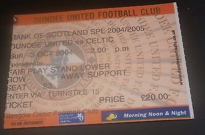 Dundee United v Celtic 3rd Oct 2004 Football League Match Ticket