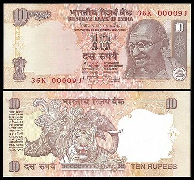 India 10 RUPEES Letter N 2011 P 95i UNC Low serial 00009.