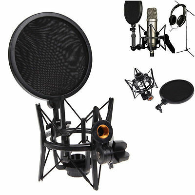Condenser Microphone Mic Sound Studio Shock Mount Stand W/ Integrated Pop Filter