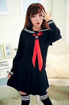 stylish Japanese School Costume, Girl Uniform Long-sleeved thick Dress Skirt