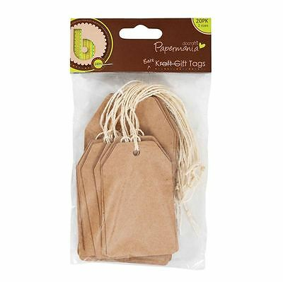 Papermania 20 Eco Natural Bare Brown Kraft Recycled Card Luggage Favour Tags