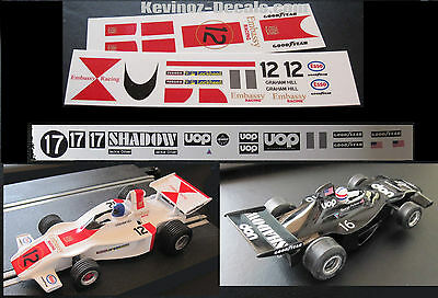 Scalextric Decals / Transfers for Shadow DN1 cars - 3 Variations *New*