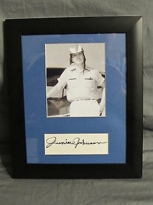 Junior Johnson Autographed Index card matted with photo in frame SGC COA