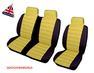 Vw Transporter T4/t5/t6 - Yellow/blk Leather Look Padded Van Seat Covers 2+1