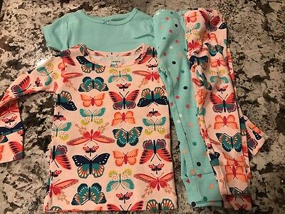 NWT CARTERS BABY GIRL BUTTERFLY 4pc. PAJAMA SET SIZE 18m