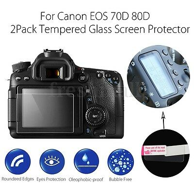 2 Pack Camera LCD Tempered Glass Screen Protector Guard For Canon EOS 70D 80D