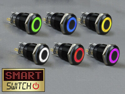 SmartSwitch 12V/24V 22mm IP67 Steel LED Illuminated ON/OFF HALO Button Switch
