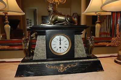 ANTIQUE EGYPTIAN REVIVAL BRONZE SPHINX PHARAON MANTEL CLOCK w/ MARBLE BASE