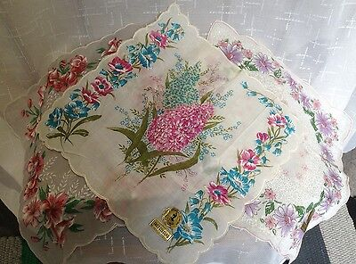Four Vintage Spanish  ladies handkerchiefs floral exceptionally pretty