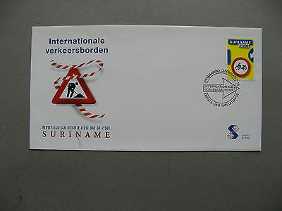 SURINAME, ill. cover FDC 2003,  motorcycle trafficsign