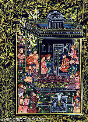 Persian Miniature Painting on Silk  India Handmade Antique Rare Artwork (018)