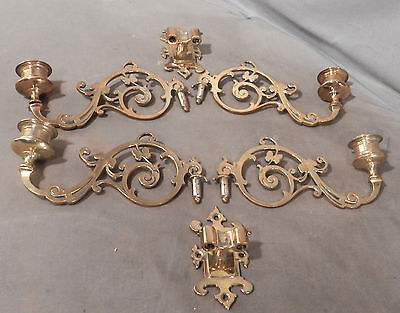 Pair Double Arm Brass VICTORIAN Candle Sconce Holder Library Lamp Music Room 2