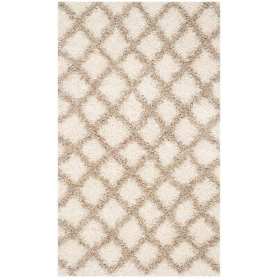 Safavieh Dallas Shag 8' X 10' Power Loomed Rug in Ivory and Beige