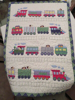 """POTTERY BARN KIDS CRIB QUILT 36"""" by 52"""" PUPPY DOGS IN TRAINS"""