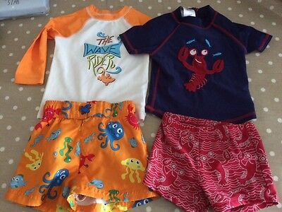 boys swimming trunks and tops 2 outfits 12-18 months