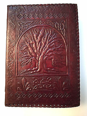 X-Thick Large Tree of Life leather journal Dream book , shadows Wicca Pagan eco