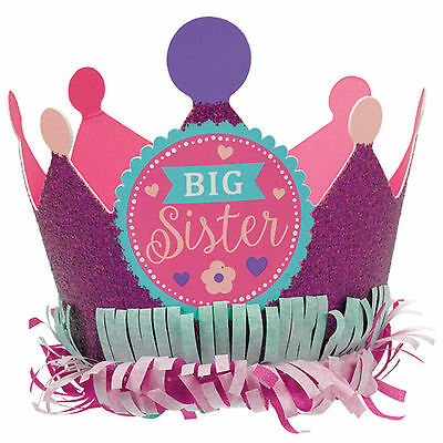 Pink Purple BIG SISTER New Baby Shower Party Paper Glitter Crown Hat