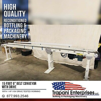 "15 Foot 6"" Belt Conveyor With Drive Tested Working With 1 HP 115V Drive"