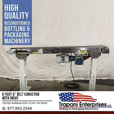 "6 Foot 6"" Belt Conveyor With Drive Tested Working With 1/2 HP 115V Drive"