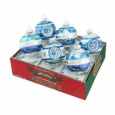 Radko Shiny Brite Winter Frost Decorated Rounds with Reflectors Glass Ornaments