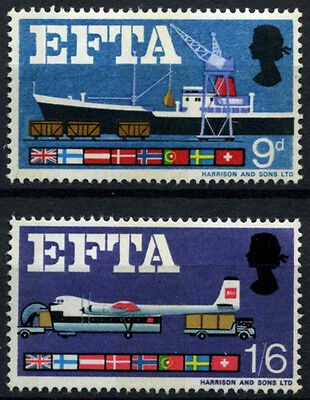 GB 1967 SG#715-6 EFTA Phosphor MNH Set #D49945