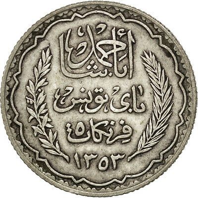 [#75175] TUNISIA, 5 Francs, 1936, Paris, KM #261, AU(55-58), Silver, 4.96