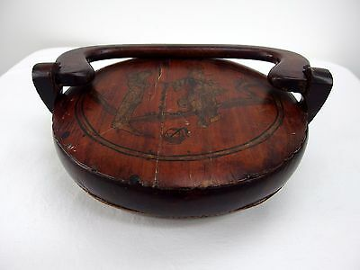 Antique Signed Chinese Wood Rice Carrier Basket Round w/Handle & Lid